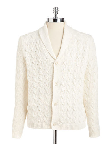 Black brown 1826 Shawl Collar Cable Cardigan white Large