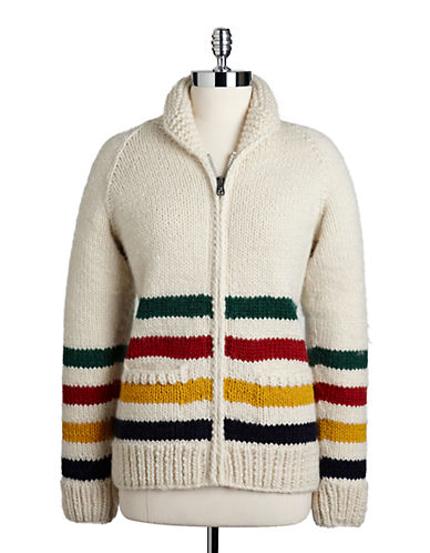 HudsonS Bay Company Hand Knit Wool Sweater-MULTI STRIPE-X-Small