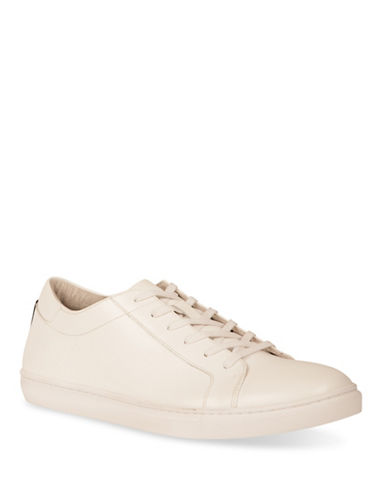 Kenneth Cole Reaction Kam Leather Low Top Sneakers-WHITE-11.5
