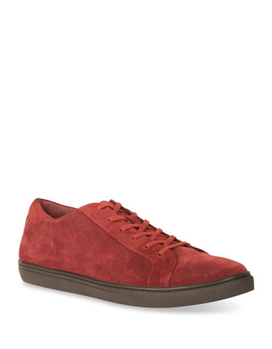 Kenneth Cole Reaction Kam Suede Low Top Sneakers-RED-10.5
