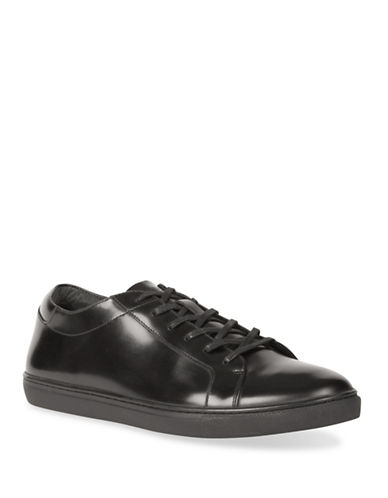 Kenneth Cole Reaction Kam Leather Low Top Sneakers-BLACK-9.5