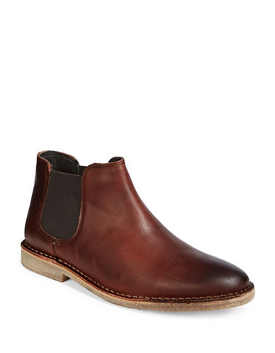Kenneth Cole Reaction Casual Leather Chelsea Boots-BROWN-11.5