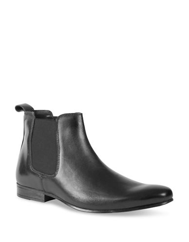 Kenneth Cole Reaction Classic Leather Chelsea Boots-BLACK-9.5