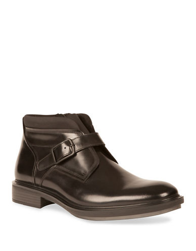 Kenneth Cole New York Buckled Leather Chelsea Boots-BLACK-9