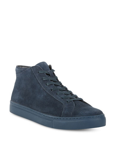 Kenneth Cole Reaction Round Toe Suede High-Top Sneakers-NAVY-10