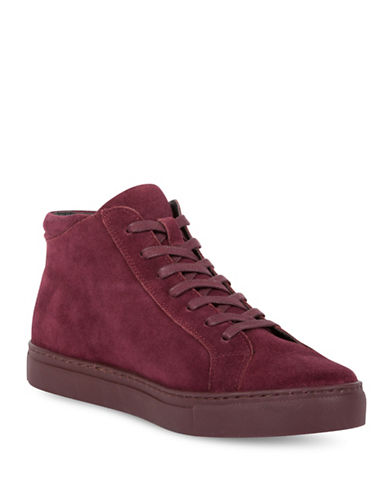 Kenneth Cole Reaction Round Toe Suede High-Top Sneakers-BURGUNDY-7.5