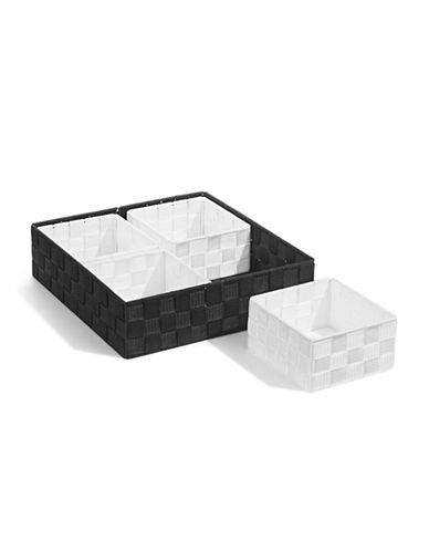 Distinctly Home Five-Piece Woven Bin Set-BLACK-Medium