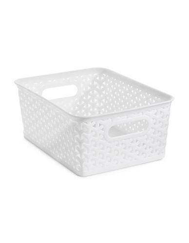 Distinctly Home Medium Plastic Bin-WHITE-Large