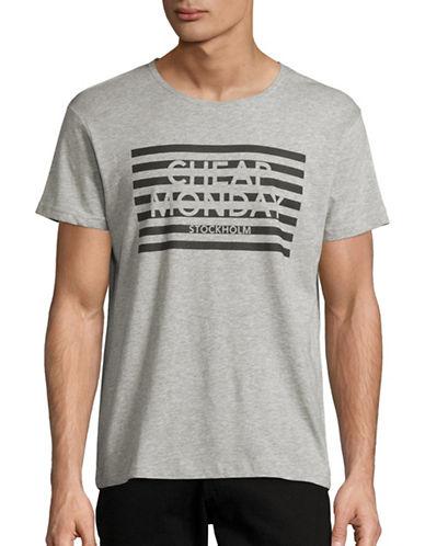 Cheap Monday Striped Logo T-Shirt-GREY-X-Large 88612631_GREY_X-Large