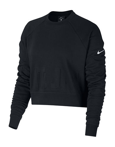 Nike Long Sleeve Training Top-BLACK-Large