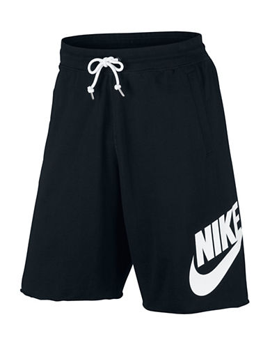 Nike Sportswear Cotton Shorts-BLACK/WHITE-Medium 89157282_BLACK/WHITE_Medium