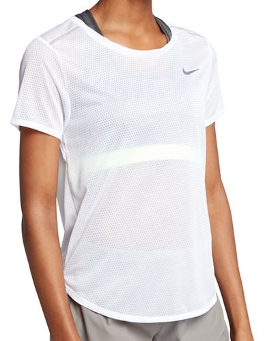 Nike Breathe Mesh Running Top-WHITE-X-Small