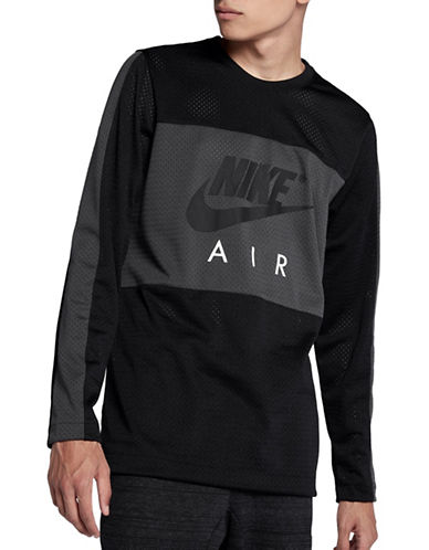 Nike Colourblock Long Sleeve Tee-BLACK-Small