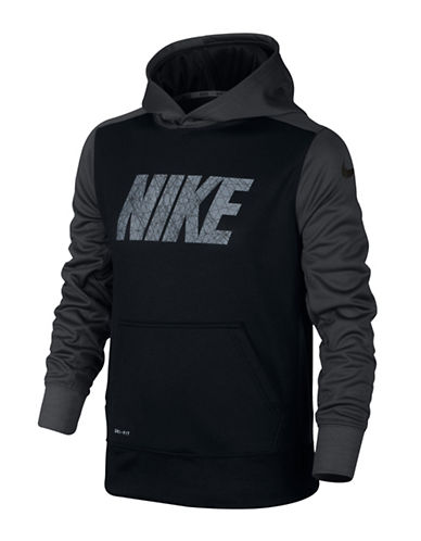 Nike Logo Print Thermal Hoodie-BLACK-Small 88787020_BLACK_Small