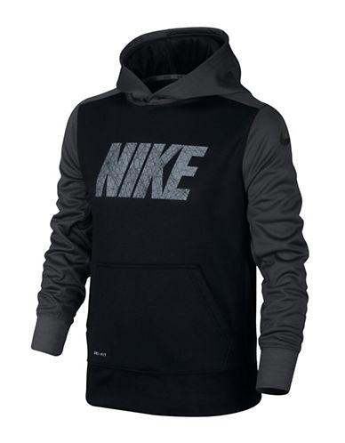 Nike Logo Print Thermal Hoodie-BLACK-X-Small 88787019_BLACK_X-Small