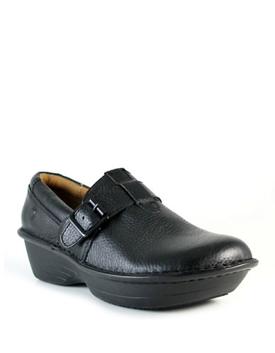 Nurse Mates Gelsey Buckled Leather Clogs-BLACK-8.5W
