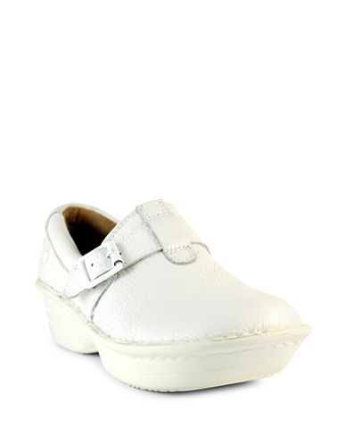 Nurse Mates Gelsey Buckled Leather Clogs-WHITE-6W