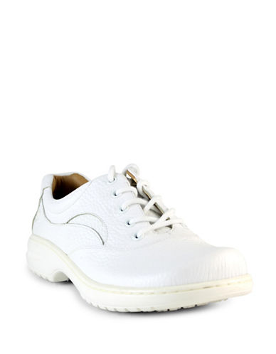 Nurse Mates Macie Leather Lace-Up Shoes-WHITE-8W plus size,  plus size fashion plus size appare