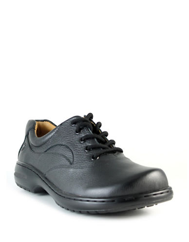 Nurse Mates Macie Leather Lace-Up Shoes-BLACK-7.5
