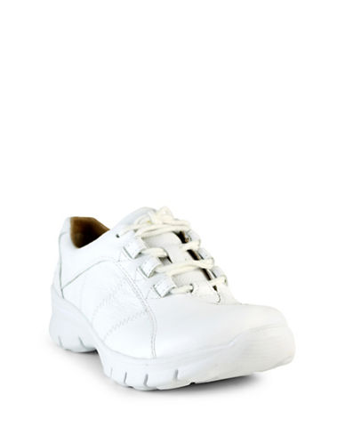 Nurse Mates Lexi Leather Lace-Up Shoes-WHITE-9