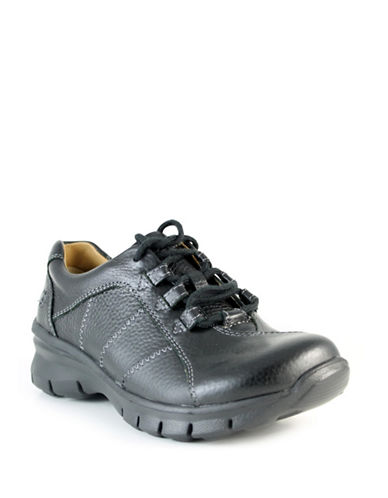 Nurse Mates Lexi Leather Lace-Up Shoes-BLACK-9W plus size,  plus size fashion plus size appare