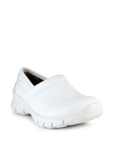Nurse Mates Libby Leather Non-Slip Clogs-WHITE-6W