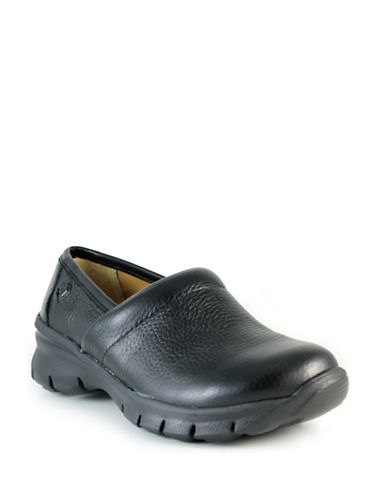 Nurse Mates Libby Leather Non-Slip Clogs-BLACK-7W