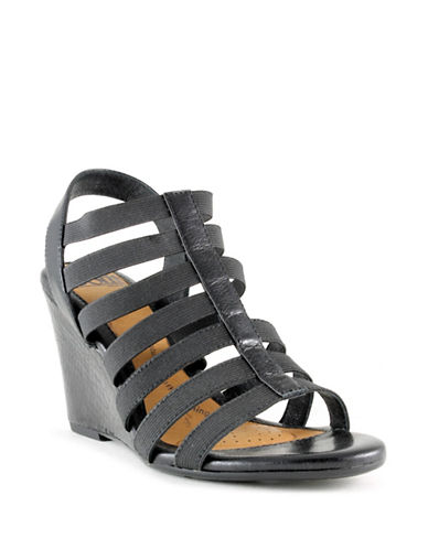 Sofft Strappy Wedge Sandals-BLACK-8.5