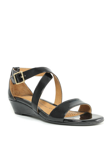 Sofft Innis Leather Criss Cross Sandals-BLACK-6.5