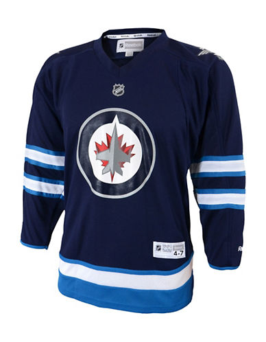 Reebok Winnipeg Jets Child Premier Replica Home Jersey-BLUE-One Size