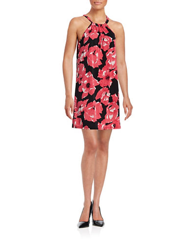 Trina By Trina Turk Floral Halterneck Dress-PINK-Small