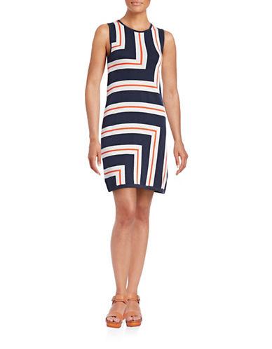 Trina By Trina Turk Anari Geometric Pattern Knit Dress-MULTI-Large