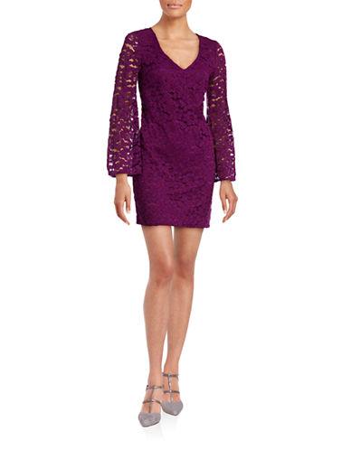Trina By Trina Turk Bell Sleeve Lace Sheath Dress-PURPLE-Small