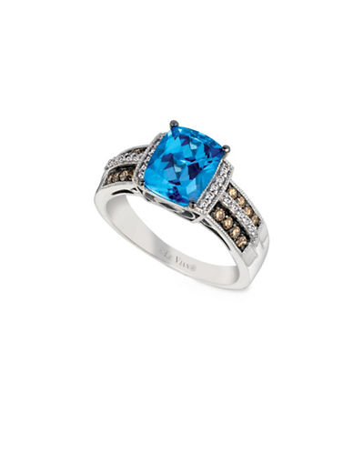 Le Vian Chocolate and Vanilla Diamonds 14K White and Vanilla Gold Topaz Ring-BLUE-7