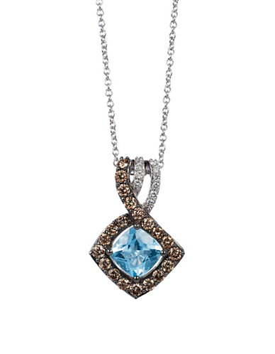 Le Vian Sea Blue Aquamarine 14K White Gold Aquamarine Pendant-WHITE GOLD-One Size