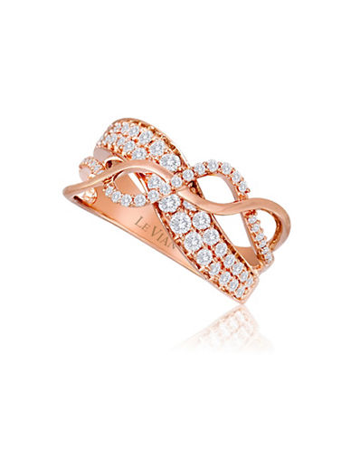 Le Vian 14K Strawberry Gold Vanilla Sinuous Swirls Diamond Ring-WHITE-7