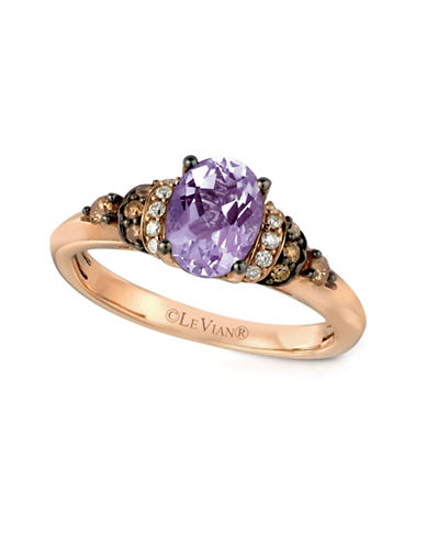 Le Vian 0.17 TCW Chocolate, Vanilla Diamond, Amethyst and Strawberry Gold Ring-PURPLE-7