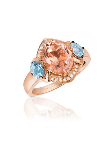 Le Vian 14K Rose Gold and Morganite Ring with Aquamarine and 0.07 Total Carat Weight Diamonds Box Set-PINK-7