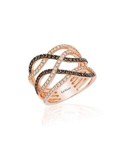 Le Vian 14K Strawberry Gold Gladiator Weave Ring-WHITE-7