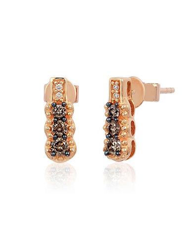 Le Vian 14K Strawberry Gold Art Deco Diamond Mini Earrings-WHITE-One Size