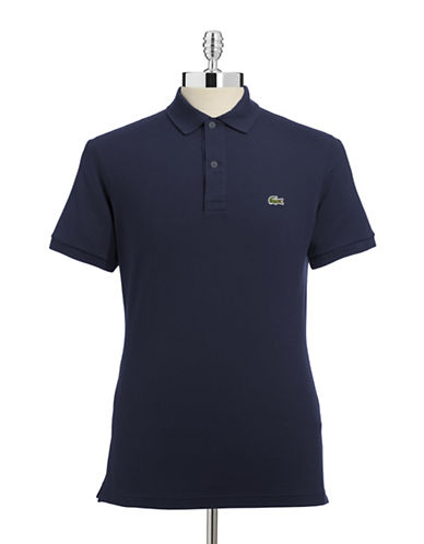 Lacoste Slim Fit Pique Polo Shirt-MARINE-5