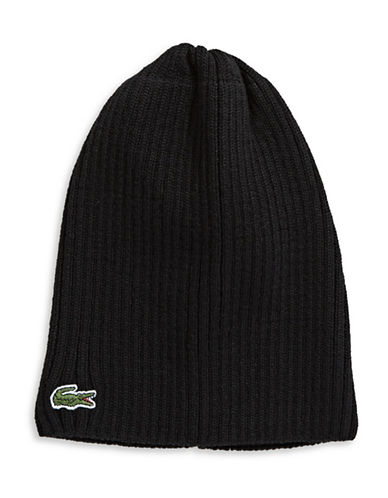 Lacoste Ribbed Wool Tuque-BLACK-One Size
