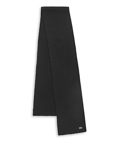 Lacoste Ribbed Virgin Wool Scarf-BLACK-One Size