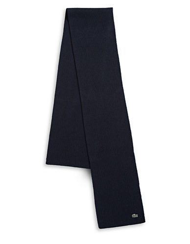 Lacoste Ribbed Virgin Wool Scarf-NAVY-One Size