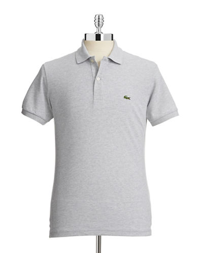 Lacoste Slim Fit Pique Polo Shirt-SILVER-Medium
