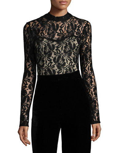 Design Lab Lord & Taylor Lace Bodysuit-BLACK-Small