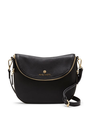 Vince Camuto Rizo Foldover Leather Crossbody-BLACK-One Size