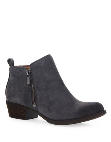 Lucky Brand Basel Leather Booties-GREY-5.5