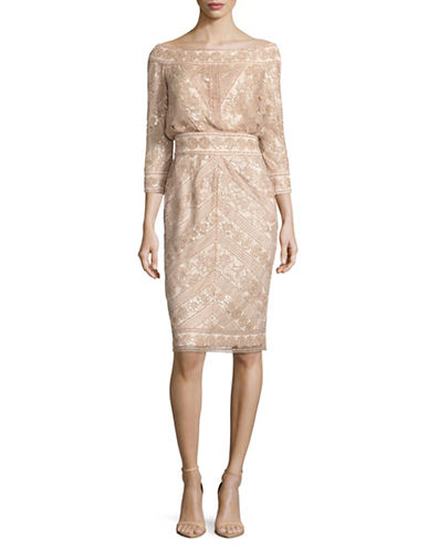 Tadashi Shoji Off-The-Shoulder Sequin Sheath Dress-BEIGE-12