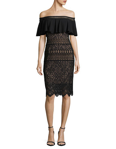 Tadashi Shoji Off-Shoulder Ruffled Lace Dress-BLACK-2